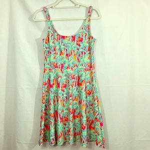 Kaeli Smith Palm Fit and Flare Tank dress Size S